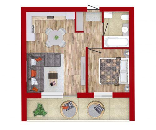 naujos statybos 2 kambarių butas